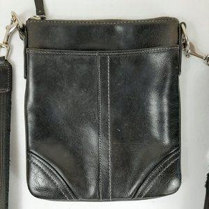 COACH Black Hampton Leather Crossbody Messenger Sw